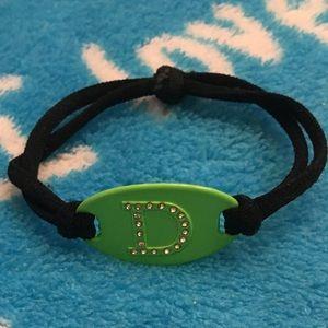 "Green & Black Letter ""D"" Gem Bracelet"